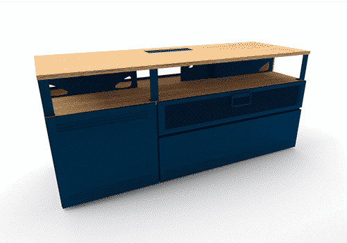Industriel meuble TV 150 cm bleu – 625€