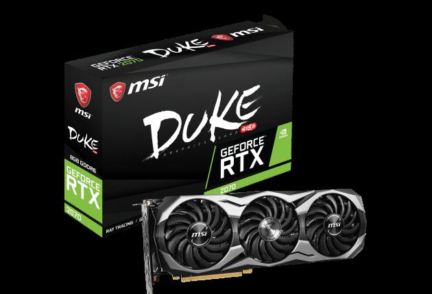 MSI GeForce RTX 2070 Duke 8G OC – Avec un système de refroidissement à triple ventilateur, la carte Duke de MSI est parfaite pour les joueurs privilégiant un flux d'air intense pour garder leur carte au frais tout au long de son utilisation.