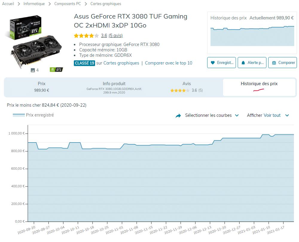 hardware - Asus GeForce RTX 3080 TUF O10G - ledenicheur