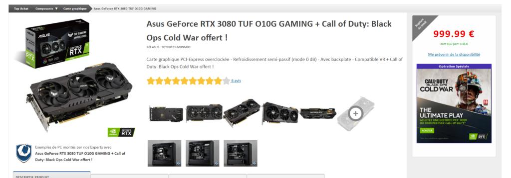 hardware - Asus GeForce RTX 3080 TUF O10G - topachat